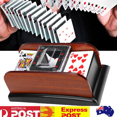 Wooden Automatic Playing Cards Card Games Poker Sorter Mixer Shuffler for 2 Deck
