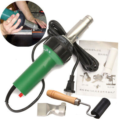 1600W Hot Air Torch Plastic Welding Gun Pistol Tools w/Rollder Brush & Flat nose