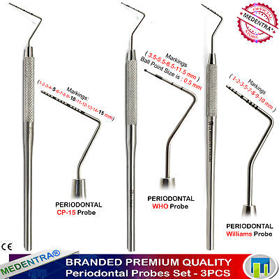 3PCS Dental Periodontal Probes CP-15+WHO+Williams Color Coated Probe Markings