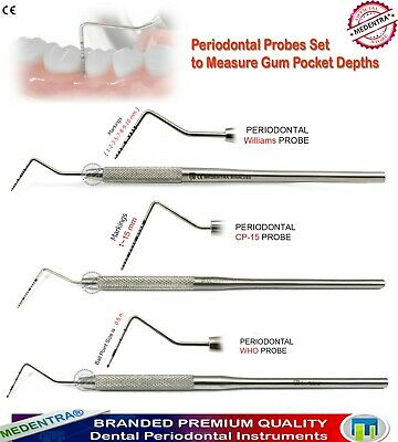 Periodontal Probes Williams CP 11 Sonda Nabers 2N Sondes Dental Pocket Depth Lab