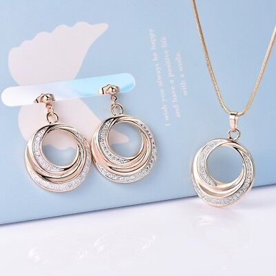 Lady Sapphire Crystal Gold Platinum Filled Earrings Circle Pendant Necklace Set