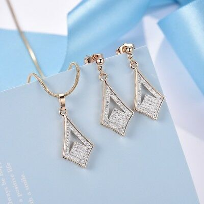 Stunning Women White Sapphire Crystal Stud Earrings Pendant Necklace Jewelry Set