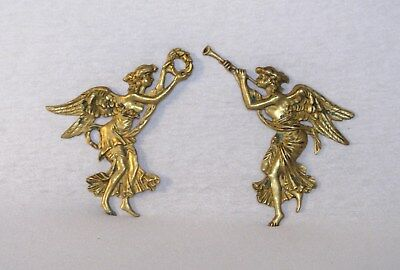 Pair of ANTIQUE FRENCH BRASS FURNITURE ORNAMENTS - Winged muses