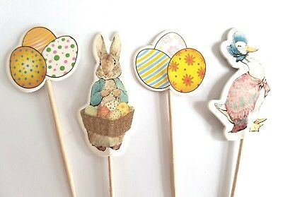 24 Peter Rabbit Cake Picks-Cupcake Toppers-Jemima Puddleduck-Party Pick/topper