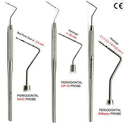 MEDENTRA X3 Dental Perio Probe Periodontal Color-Coded WHO Probes Williams CP-15