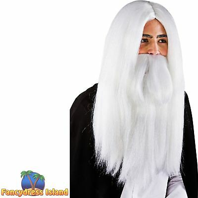 WHITE WIZARD GANDALF LONG WIG + BEARD MERLIN Adult Mens Fancy Dress Costume