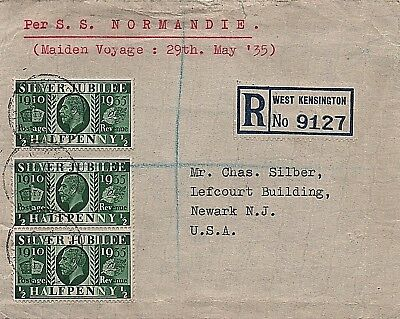 1935 Registered cover to Newark carried on maiden voyage of S.S Normandie