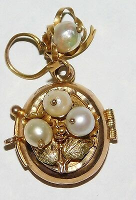 Solid 10k Gold Antique Victorian Real 5mm Pearl Flower Boquet Bow Locket