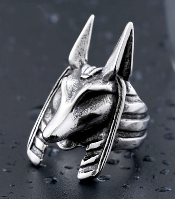 Anubis ancient Egyptian god of death vintage stainless steel unisex rings