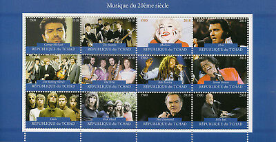 Chad 2018 CTO Madonna George Michael Beatles Rolling Stones 12v M/S Stamps