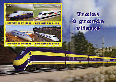 Congo 2018 MNH High Speed Trains 4v M/S Railways Rail Stamps
