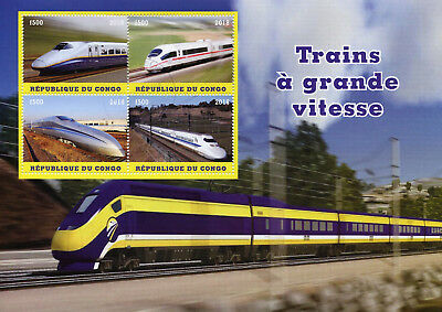 Congo 2018 CTO High Speed Trains 4v M/S Railways Rail Stamps