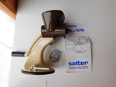 Vintage Salter Hand Meat Mincer Model N705 circa 1970 w Stainless Steel Cutters