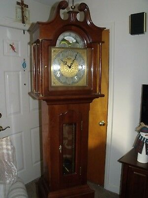 "DANEKER, ""the PRESIDENT"" moon phase grandfather clock, solid cherry, 1967"