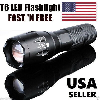 Tactical T6 LED Flashlight Rechargeable 5 Modes Focus/Zoom 18650/AAA Torch Lamp