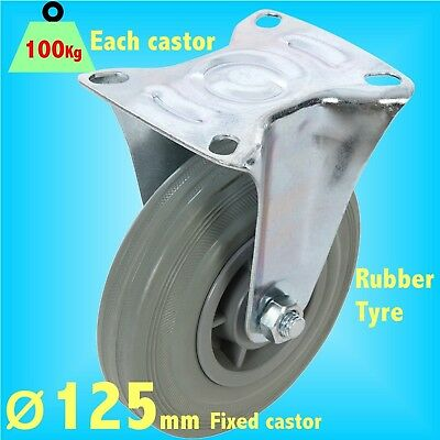 Rubber Castor 125mm Gate swivel braked trolley wheel caster
