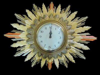 *WORKING* LARGE VINTAGE SMITHS SUNBURST WOOD CARVED ELECTRIC CLOCK c1950