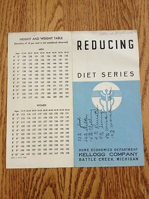 Vtg 1930s KELLOGG Brochure Reducing Diet Series Healthy Eating Weight Tables