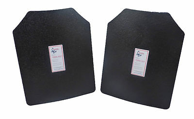 Level III AR500 Steel Body Armor 11x14 1 Curved + 1 Flat Coated Quick Ship