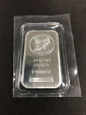 1 Troy Ounce Sunshine Minting .999 Fine Silver Bar Mint Mark Sealed