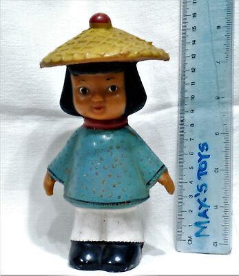 VINTAGE Cute CHINESE LITTLE GIRL with folk National costumes HAT rubber toy DOLL