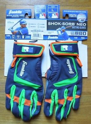 Franklin Sports Shok-Sorb Neo Batting Glove Pair Youth Large Grey & Green