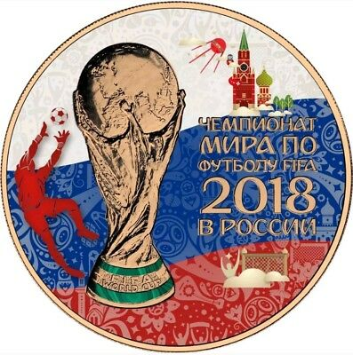 2018 1 Oz Silver 3 Rubles WORLD CUP IN RUSSIA Coin WITH 24K ROSE GOLD GILDED.