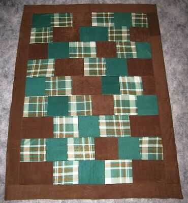 PLAID GREEN and BROWN Fleece Quilt Soft Two Layer Blanket for Bed Top or throw