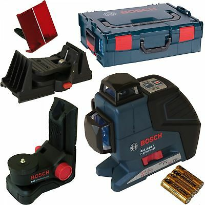 Bosch GLL 3-80P Line Laser with BM1 Wall Mount + Ceiling Clamp and Case