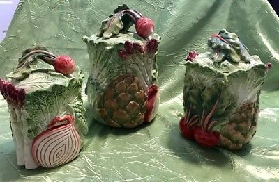 Fitz and Floyd Vegetable Garden Three-Piece Canister Set w/Radishes, Artichokes