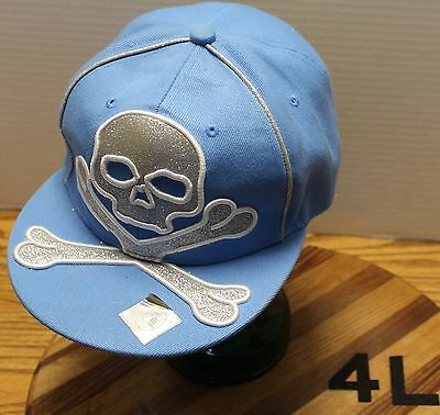 Very Nice City Big Hat Blue With Silver Skull & Crossbones Fitted Size Xl 7 3/4