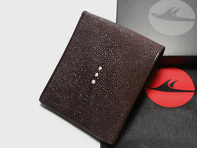 New Handmade Genuine Stingray Skin Real Leather Men's Wallet Bifold Purse Brown