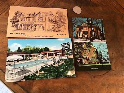 VINTAGE 3 POSTCARDS TIOGA Motel Williamsburg MILLBURN MANOR IL RED CIRCLE INN WI