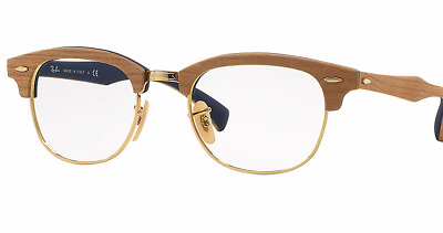 284a995d600ad Ray-Ban RX 5154M 5559 Clubmaster Wood Gold Eyeglasses Italy Authentic New