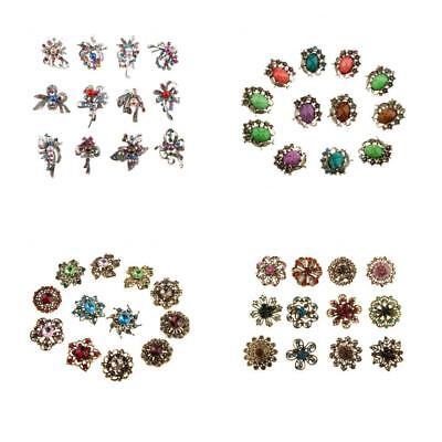 12pcs Mixed Colors Design Vintage Rhinsetone Brooches Pin for Wedding Bridal
