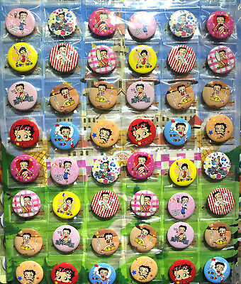 Betty Boop 30MM 48 pc LOTS PIN BACK BADGES BUTTONS NEW BAG CLOTH PARTY COSPLAY