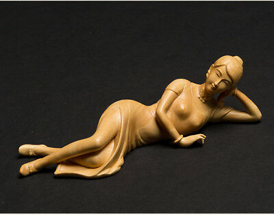 "7.09"" Boxwood Handwork Carving Lying Beauty Girl Fine & Smooth Work Collectiable"