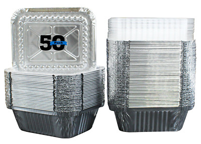 50 Pack of Disposable Takeout Pans with Clear Lids - 1 Lb Capacity Aluminum Foil