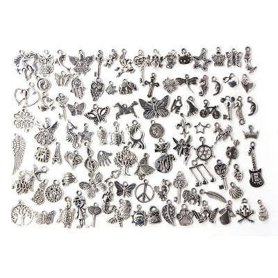 100pcs /Pack Bulk Lots Tibetan Silver Mix Charm Pendants Jewelrys DIY Wholesale