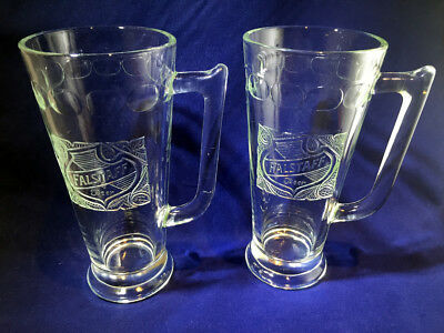 Set of 2 Vintage Falstaff Beer Embossed Mugs Tapered Glass Raised Logo Barware