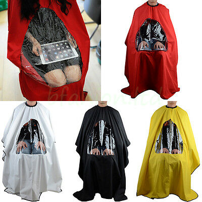 Hair Salon Hairdressing Cutting Cape Cover Barbers Gown With Window Play Phones