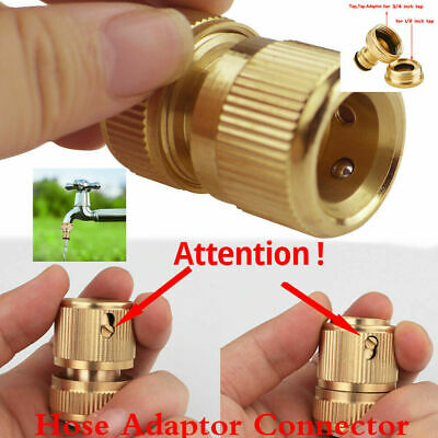 "+4 Set Tap Brass Garden Water Hose Pipe 1/2"" 3/4"" Adaptor Connector Green Lawn+"