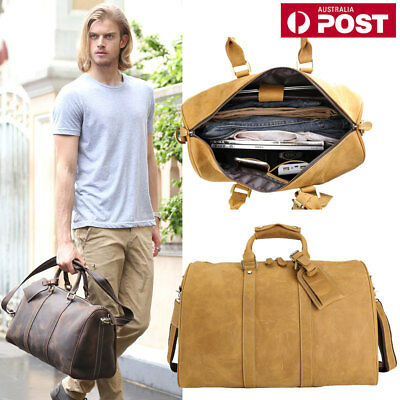 Men's Genuine Leather Travel Luggage Bag Duffle Gym Shoulder Tote Sports Handbag