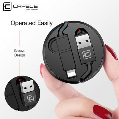 2X 2 in 1 Retractable 1.3M Micro USB Cable Data Sync Charger for iPhone X 8 7