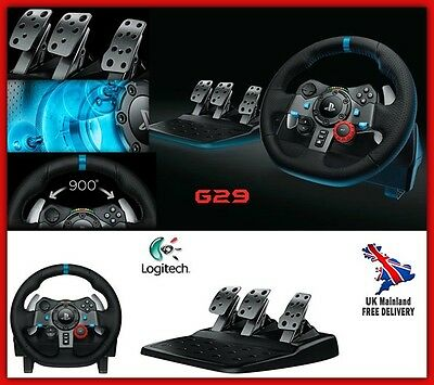 Racing Steering Wheel Pedal Gaming Driving Set Controller PC PS 3 4 Equipment UK