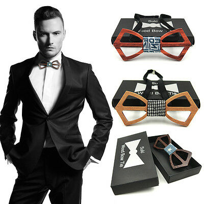 Fashon Men And Women Bow Tie Real Natural Handmade Wooden Bowtie Vintage Wood GK