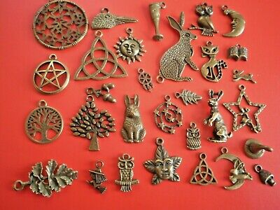 30 Wicca bronze charms pendants craft work wiccan pagan jewellery making