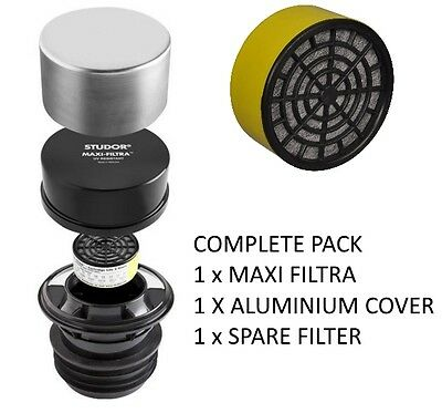 Studor Maxi Filtra COMPLETE PACK with Aluminium Cover & Spare Carbon Filter VAT
