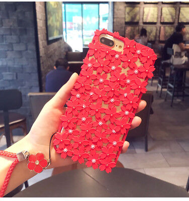 Hollow Cherry Peach Flower Silicone Soft Case Cover for iPhone X 8 Plus 6S+Strap