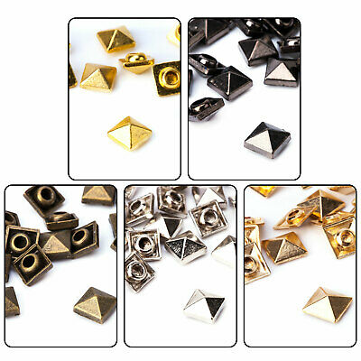 100 X Square Pyramid Punk Studs Rivets for Leathers Crafts Jeans Bags DIY Decor